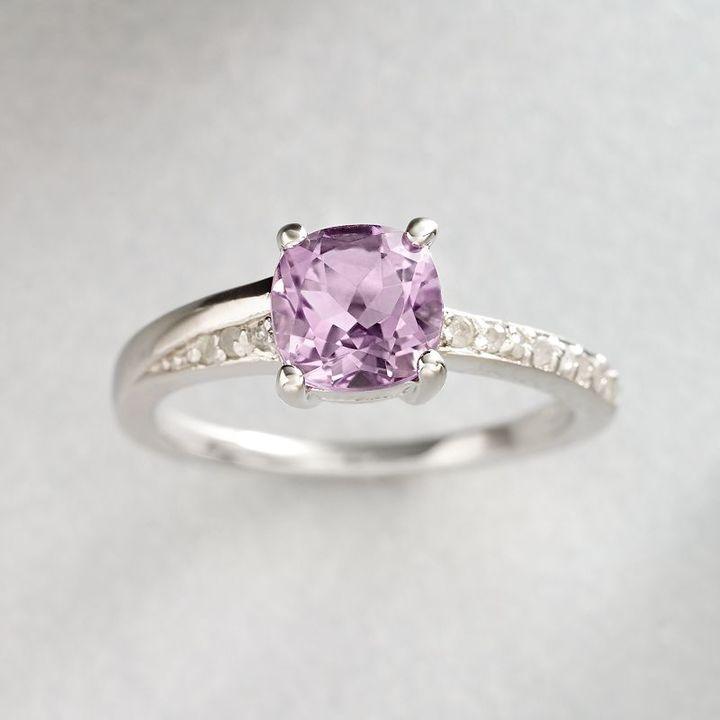 Sterling silver 1/10-ct. t.w. diamond & amethyst ring