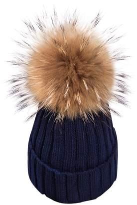 Berrygo Women's Pretty Warm Hand Knit Real Raccoon Fur Pom Pom Pompon Beanie Hats 2017