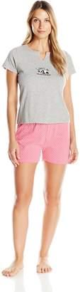 Rene Rofe Women's Short- Sleeve V Neck Pajama Set