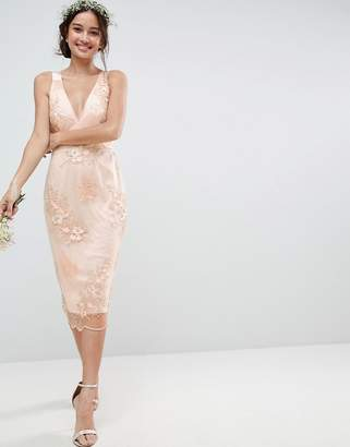 Asos Design DESIGN Bridesmaid delicate lace pencil dress with embroidered flowers