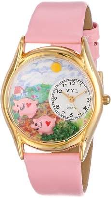 Whimsical Watches Kids' C0110002 Classic Pigs Pink Leather And tone Watch