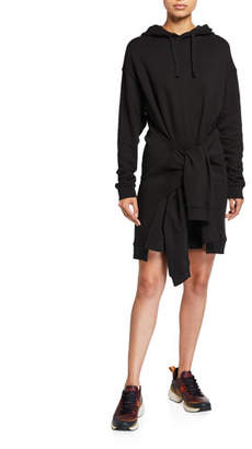 McQ Knotted Sleeve Hooded Long-Sleeve Dress