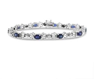 14K White Gold Diamond & 5.10ct Sapphire Bow Tie Design Bracelet