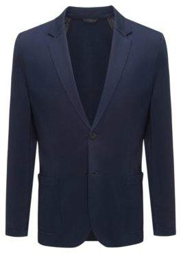 HUGO Boss Slim-fit blazer contrast shoulder panels 44R Dark Blue