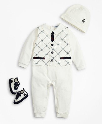 Brooks Brothers Boys Vest Coverall, Hat & Booties Set - 12 Months