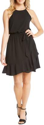 Karen Kane Ruffle Tie Waist Halter Dress