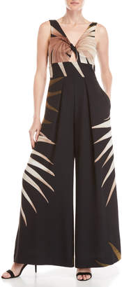 Catherine Malandrino Printed Twist Front Wide Leg Jumpsuit