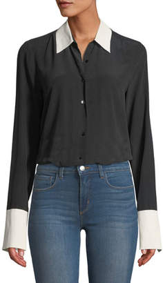 L'Agence Mia Cuffed Silk Button-Front Blouse