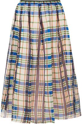 Marni Organdie Checked Pleated Cotton-organza Midi Skirt - Blue
