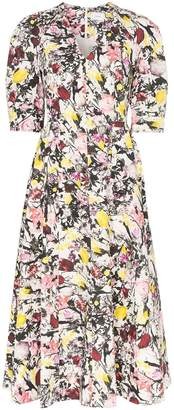 Erdem Cassida floral print puff sleeve cotton midi dress