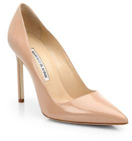 Manolo Blahnik BB 105 Patent Leather Point Toe Pumps $595 thestylecure.com