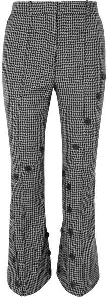 Rokh - Button-embellished Houndstooth Tweed Flared Pants - Anthracite