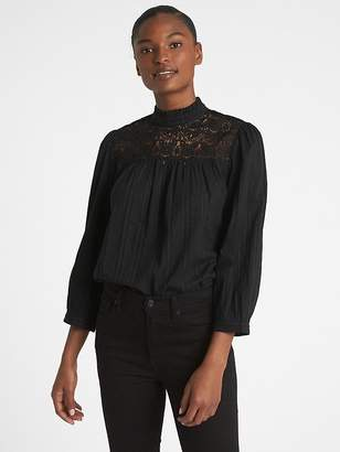 Gap Crochet Lace-Trim Mockneck Blouse