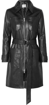 STAND - Keren Belted Leather Coat - Black