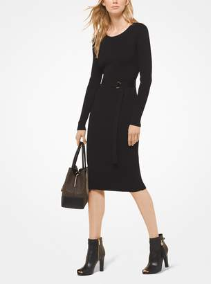 MICHAEL Michael Kors Belted Ribbed Knit Dress
