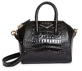 Givenchy Women's Mini Antigona Croc-Embossed Leather Satchel