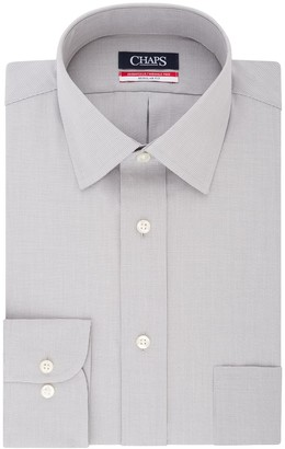 Chaps Men's Essentials Regular-Fit Microcheck Wrinkle-Free Stretch Collar Dress Shirt