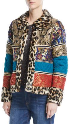 Alice + Olivia Glennie Patchwork Coat w/ Leopard Faux-Fur Combo