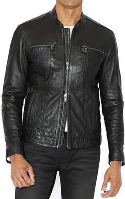 John Varvatos Leather Band Collar Moto Jacket