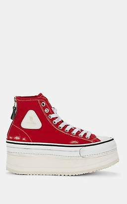 R 13 Women's Distressed Canvas Platform Sneakers - Red