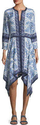 Joie Cynthia Button-Front Paisley-Print Silk Dress