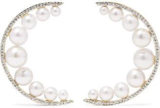 Mateo - Large Crescent Moon 14-karat Gold, Pearl And Diamond Earrings