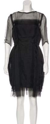 Lanvin Silk Pleated Dress Black Silk Pleated Dress