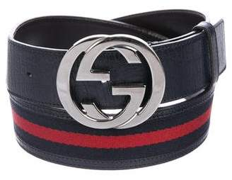 Gucci Leather-Trimmed GG Web Belt