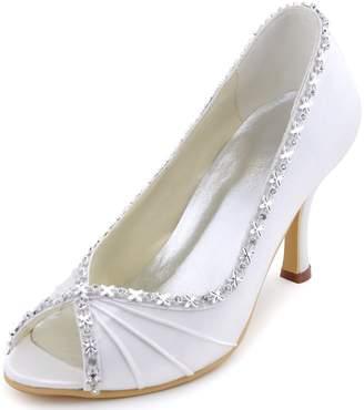 50f55a015705 ElegantPark EP2094 Satin Pumps High Heel Rhinestones Ruched Peep Toe Women  Wedding Bridal Shoes US 9