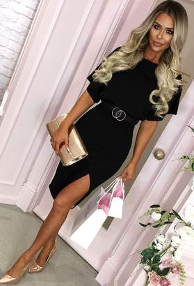 755ce5616183 Pink Boutique Came Here For Love Black Belted Wrap Front Midi Dress