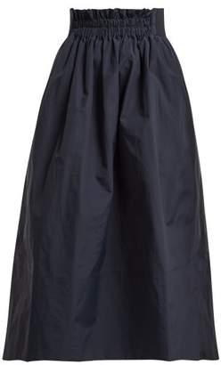Tibi Shirred Waistband Midi Skirt - Womens - Navy