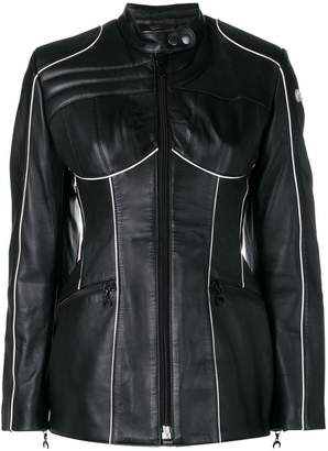 Marine Serre fitted leather jacket
