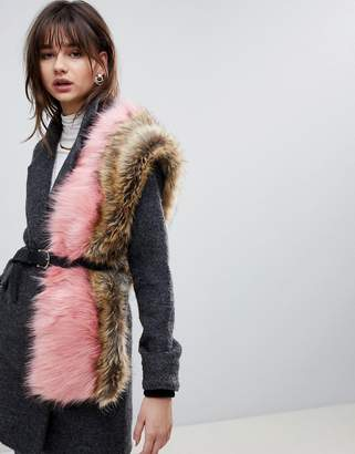Asos Design Faux Fur Colour Block Scarf