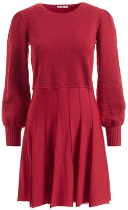 WtR - WtR Saffi Red Jacquard Knit Long Sleeve Skater Dress