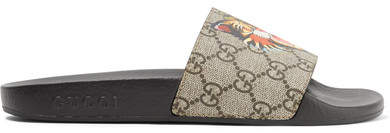 Gucci - Printed Coated-canvas Slides - Army green