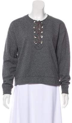 Mother Lace-Up Crew Neck Sweatshirt