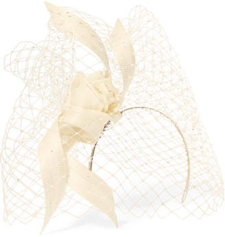 Philip Treacy Crystal-embellished Mesh, Satin And Buntal Straw Headpiece - Ivory
