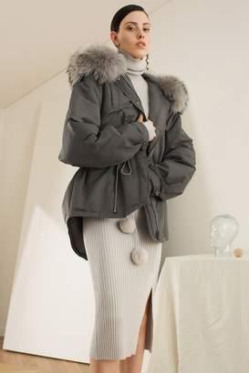 Genuine People High Low Fur Trim Hooded Down Coat