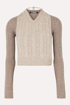 Jacquemus Layered Cable-knit Two-tone Merino Wool Sweater - Gray