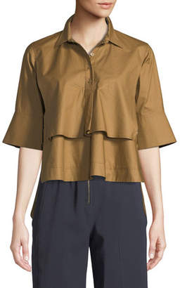 Carven Tiered Button-Front Cotton Shirt