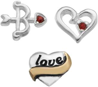 """Bow & Arrow Blue La Rue Crystal Silver-Plated & 14k Gold-Plated """"Love"""" Heart, Cutout Heart and Charm Set"""