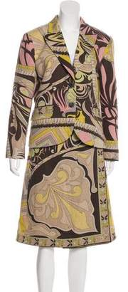 Emilio Pucci Patterned Wool Skirt Suit