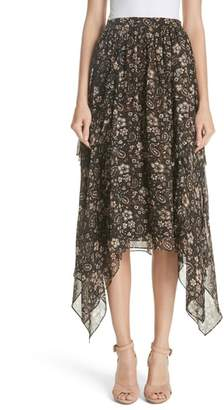 Ulla Johnson Torri Handkerchief Hem Paisley Silk Skirt