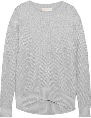 MICHAEL Michael Kors - Metallic Cotton-blend Sweater - Gray $165 thestylecure.com