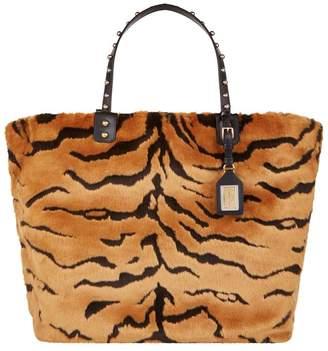 Dolce & Gabbana Beatrice Tiger Faux Fur Shopping Bag