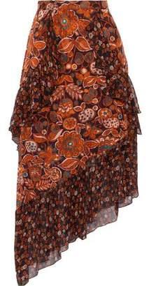 Anna Sui Printed Fil Coupe And Silk-chiffon Skirt
