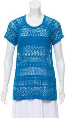 Yigal Azrouel Crochet Short Sleeve Top