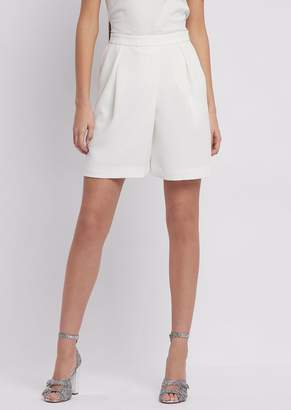 Emporio Armani Crepe Shorts With Pleats And Stretch Back Waist