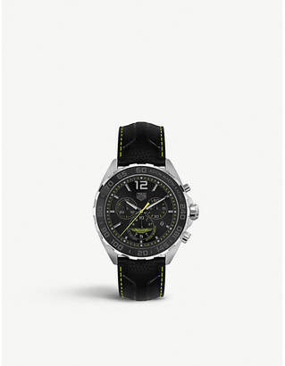 Tag Heuer CAZ101P.FC8245 Formula 1 Aston Martin aluminium, stainless steel and leather strap tachymeter watch