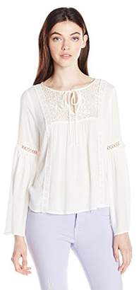 Amy Byer A. Byer Junior's Bell Sleeve Peasant Top with Lace